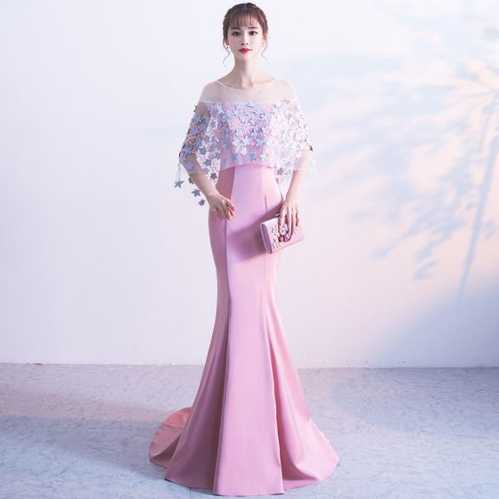 Chic / Beautiful Blushing Pink Evening Dresses  2017 Trumpet / Mermaid U-Neck Charmeuse Appliques Backless Evening Party Formal Dresses