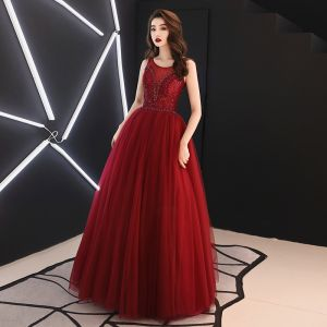 Best Burgundy See-through Evening Dresses  2019 A-Line / Princess Scoop Neck Sleeveless Rhinestone Sequins Glitter Tulle Floor-Length / Long Ruffle Backless Formal Dresses