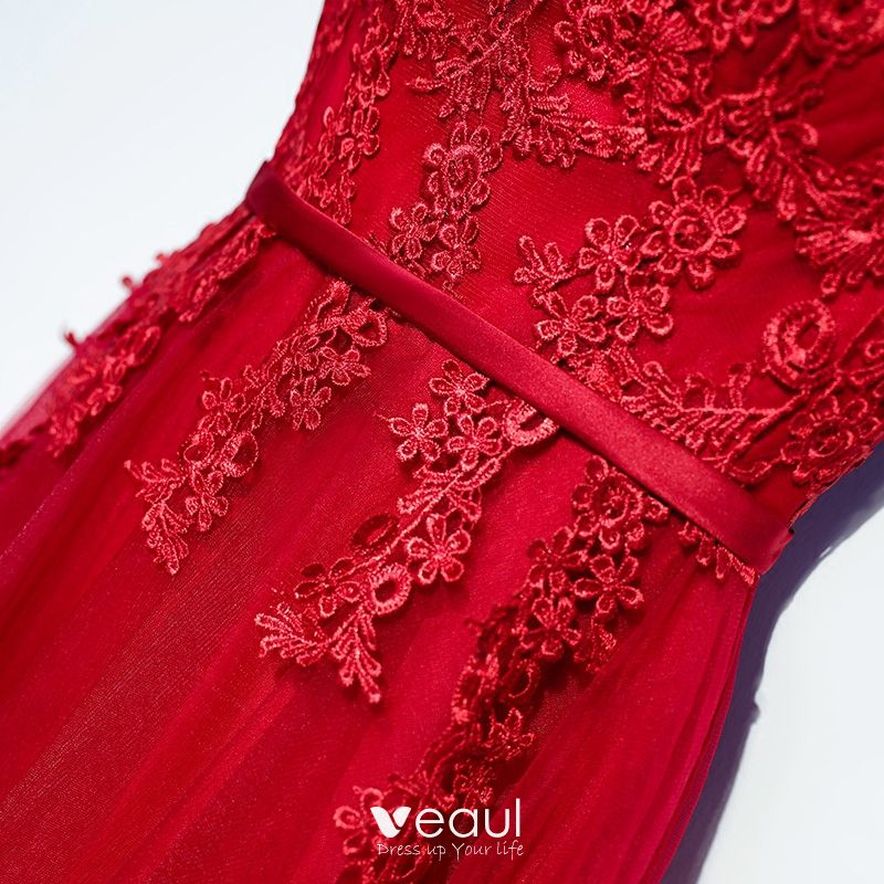 Chic / Beautiful Red Formal Dresses Evening Dresses  2017 Lace Flower Strappy Zipper Up Sleeveless Floor-Length / Long A-Line / Princess Scoop Neck