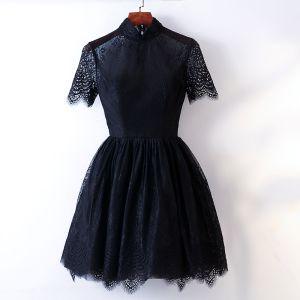 Piękne Czarne Homecoming Sukienki Na Studniówke 2017 Princessa Wysokiej Szyi Kótkie Rękawy Krótkie Sukienki Wizytowe