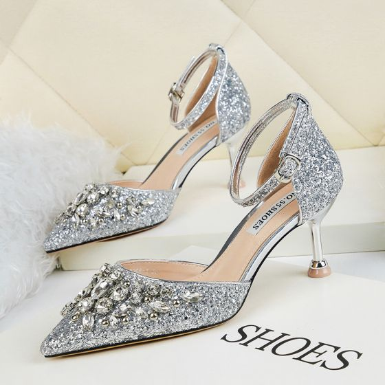 Sparkly Silver Sequins Evening Party High Heels 2020 Rhinestone 6 cm Stiletto Heels Pointed Toe Womens Shoes