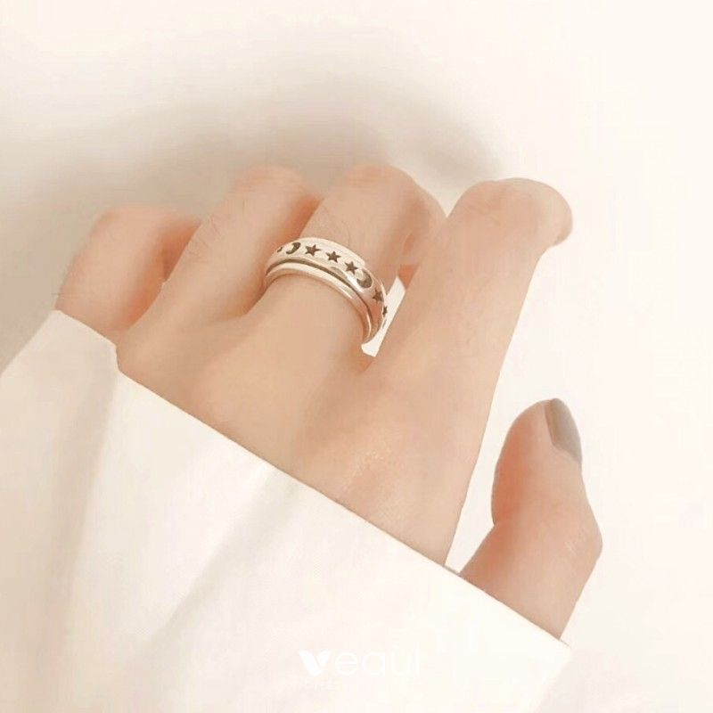 Vintage / Retro Black Star Moon Band Ring Sterling Silver Work Holiday Rings 2019 Accessories
