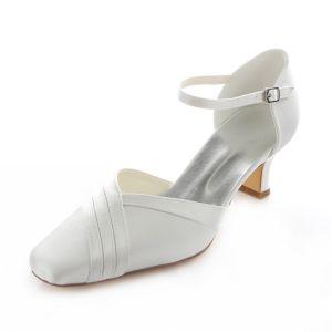 Piękne Białe Satynowe Buty Ślubne Czółenka Szpilki 5cm