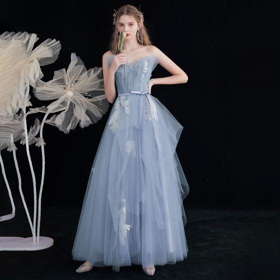 Modern / Fashion Sky Blue Lace Flower Prom Dresses 2021 A-Line / Princess Strapless Sleeveless Backless Bow Sash Floor-Length / Long Formal Dresses