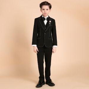 Luxe Zwarte Boys Wedding Suits Parel Rhinestone Das Lichaam Sieraden 2018