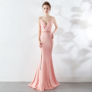 Modest / Simple Blushing Pink Evening Dresses  2019 Trumpet / Mermaid Spaghetti Straps Sleeveless Backless Split Front Sweep Train Formal Dresses
