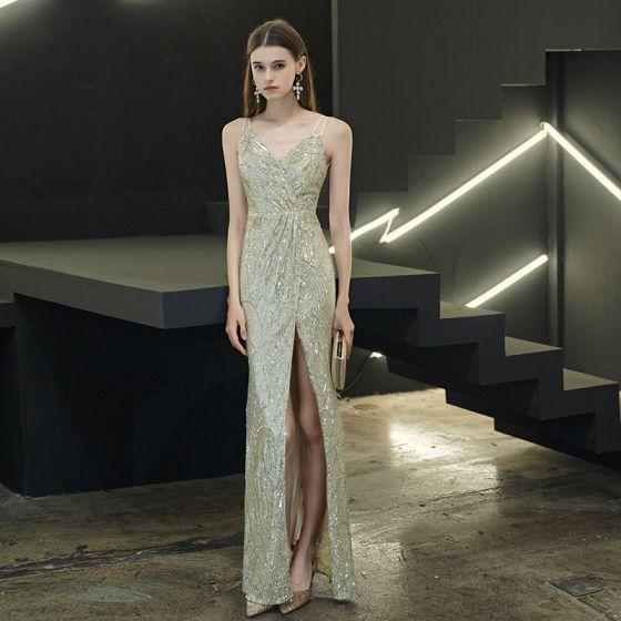 Sexy Silber Pailletten Abendkleider 2020 Meerjungfrau Spaghettiträger Ärmellos Gespaltete Front Lange Rückenfreies Festliche Kleider