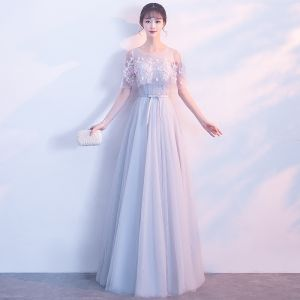 Elegant Grey See-through Evening Dresses  With Shawl 2018 A-Line / Princess Scoop Neck Sleeveless Appliques Flower Sash Floor-Length / Long Ruffle Backless Formal Dresses