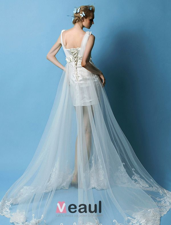 2015 A-line Shoulders Beading Handmade Flowers Beach Wedding Dress