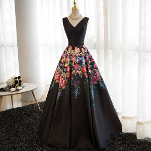 Modern / Fashion Black Flower Prom Dresses 2017 A-Line / Princess V-Neck Sleeveless Printing Satin Sash Floor-Length / Long Backless Formal Dresses
