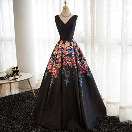 Modern / Fashion Black Flower Prom Dresses 2017 A-Line / Princess V-Neck Sleeveless Printing Satin Sash Floor-Length / Long Backless Formal Dresses