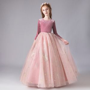 Chic / Beautiful Candy Pink Suede Winter Birthday Flower Girl Dresses 2020 Ball Gown Scoop Neck 3/4 Sleeve Appliques Star Sequins Floor-Length / Long Ruffle