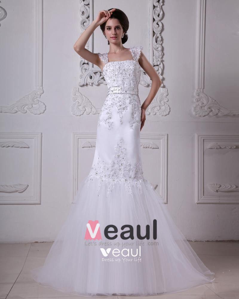 Stylish Sweep Satin Lace Square Mermaid Wedding Dress