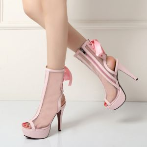 Amazing / Unique Casual Womens Boots 2017 Tulle Ankle Bow Strappy Platform Open / Peep Toe High Heel Boots