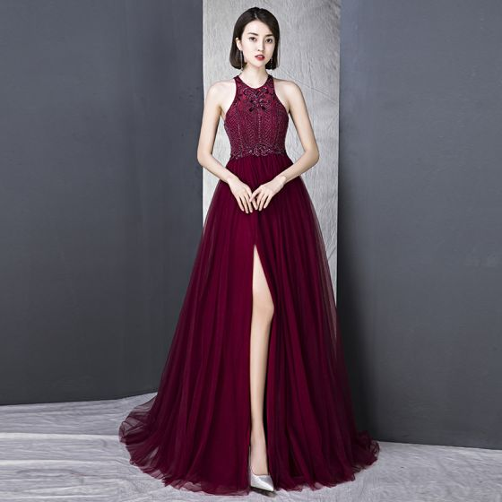Chic / Beautiful Burgundy Evening Dresses  2018 A-Line / Princess High Neck Tulle Backless Beading Sequins Evening Party Formal Dresses