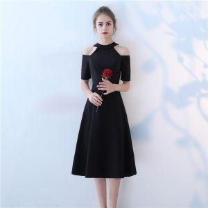Chic / Belle Noir de retour Robe De Soirée 2017 Princesse Encolure Dégagée Bustier Manches Courtes Mi-Longues Robe De Ceremonie