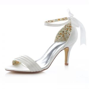 Chic White Bridal Sandals  Stiletto Heels Pumps With Bowknot