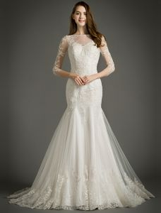Mermaid Square Neckline 3/4 Sleeves Applique Lace Wedding Dress