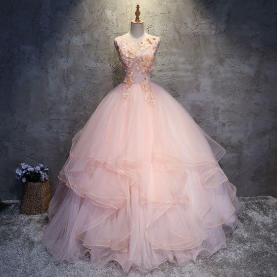 Eleganta Pärla Rosa Balklänningar 2017 Balklänning Spets Appliqués Rhinestone Urringning Halterneck Ärmlös Långa Formella Klänningar