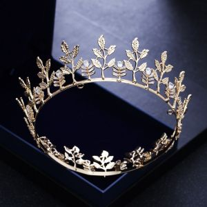 Modest / Simple Gold Leaf Tiara 2018 Metal Rhinestone Wedding Accessories