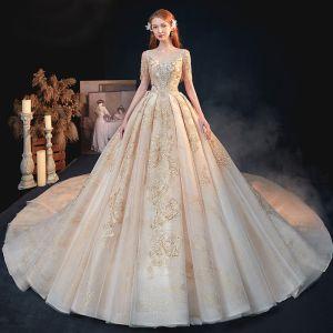 Luksusowe Złote ślubna Suknie Ślubne 2020 Princessa V-Szyja Kótkie Rękawy Bez Pleców Aplikacje Cekiny Frezowanie Cekinami Tiulowe Trenem Katedra Wzburzyć
