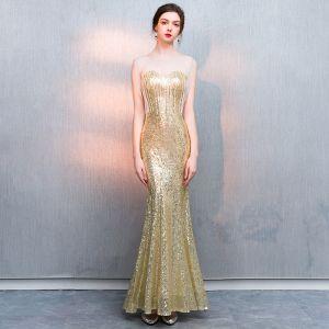 Glitzernden Gold Pailletten Abendkleider 2018 Meerjungfrau Durchsichtige Rundhalsausschnitt Ärmellos Perlenstickerei Quaste Lange Rüschen Festliche Kleider