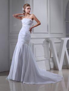 Classique Bustier A-ligne Robe De Mariage De Perles Plissée