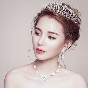 Chic / Beautiful Silver Bridal Jewelry 2017 Metal Beading Crystal Rhinestone Handmade  Prom Wedding Headpieces Accessories