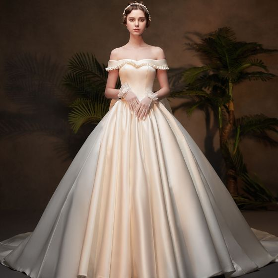 Winter Wedding Dress.Vintage Retro Ivory Satin Winter Wedding Dresses 2019 Ball Gown Off The Shoulder Short Sleeve Backless Bow Cathedral Train Ruffle