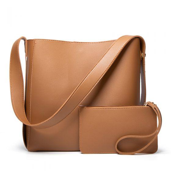 Minimalistisch 2 Stück Braun Quadratische Schultertaschen Umhängetasche Brieftasche 2021 PU Freizeit Damentaschen