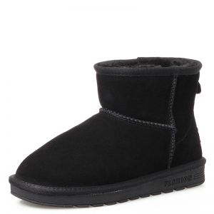 Modest / Simple Womens Boots 2017 Black Leather Ankle Suede Casual Winter Flat Snow Boots