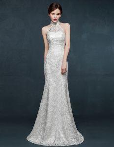 2015 Weiß Halfter Mermaid Brautkleid