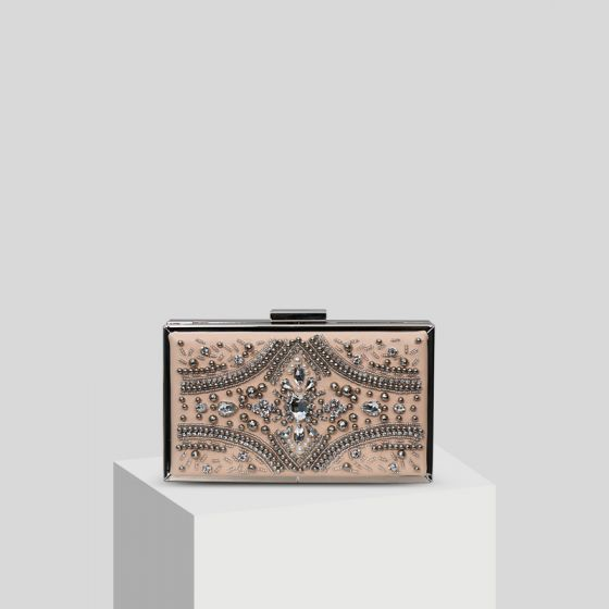 Chic / Beautiful Blushing Pink Handmade  Beading Pearl Rhinestone Clutch Bags 2019