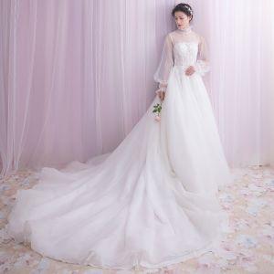 Vintage Weiß Brautkleider 2018 A Linie Mit Spitze Perle Verdeckter Knopf Stehkragen Lange Ärmel Kapelle-Schleppe Hochzeit