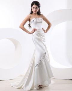 Charmeuse Bretelles A Volants Perles Etage Longueur Femmes Robe De Soirée