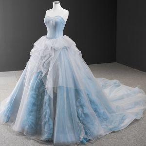 Glamorous Ocean Blue Prom Dresses 2020 Ball Gown Sweetheart Sleeveless Chapel Train Ruffle Backless Formal Dresses