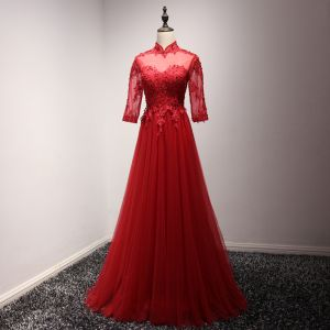 Chinese style Red Evening Dresses  2017 Floor-Length / Long A-Line / Princess Cascading Ruffles High Neck 3/4 Sleeve Pearl Sequins Lace Appliques Pierced Formal Dresses