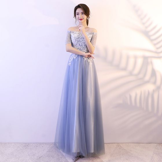 Asequible Azul Cielo Vestidos de gala 2018 A-Line / Princess Con Encaje Lentejuelas Fuera Del Hombro Sin Espalda Manga Corta Largos Vestidos Formales