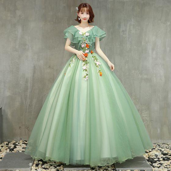 Schöne Salbeigrün Ballkleider 2019 Ballkleid V-Ausschnitt Spitze Blumen Kurze Ärmel Rückenfreies Lange Festliche Kleider