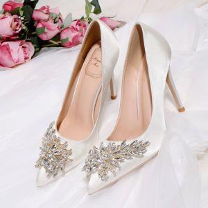 Charmant Ivoire Chaussure De Mariée 2020 Cristal Faux Diamant 10 cm Talons Aiguilles À Bout Pointu Mariage Escarpins