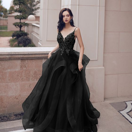 Chic / Beautiful Sky Blue Cascading Ruffles Prom Dresses 2021 A-Line / Princess Spaghetti Straps Beading Lace Flower Sleeveless Backless Floor-Length / Long Prom Formal Dresses