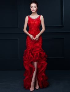 Glamorous Mermaid Red Long Evening Dress Flower Organza Party Dress With Rhinestone