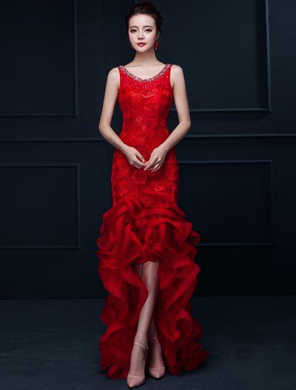 Glamorous Mermaid Red Long Evening Dress Flower Organza Party Dress With Rhinestone