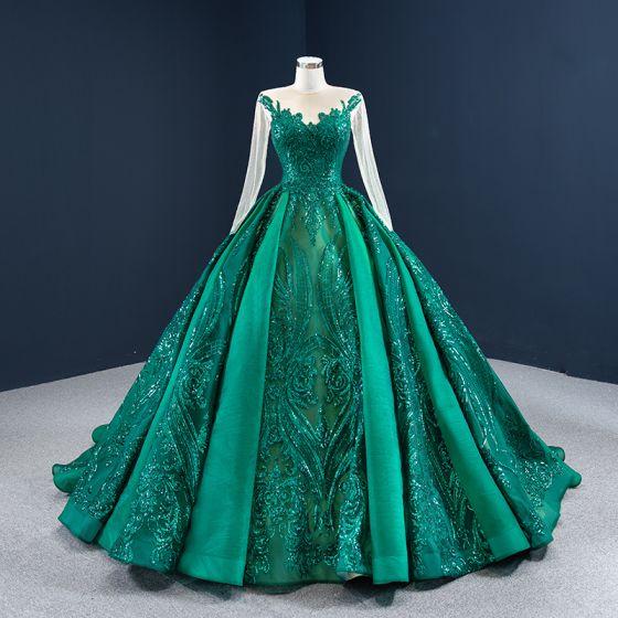 Luksusowe Ciemnozielony Przezroczyste Sukienki Na Bal 2020 Suknia Balowa Wycięciem Długie Rękawy Aplikacje Cekiny Trenem Sąd Wzburzyć Sukienki Wizytowe
