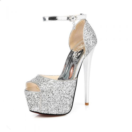 Sparkly Prom Pumps 2017 Glitter Polyester Platform High Heel Open / Peep Toe Pumps