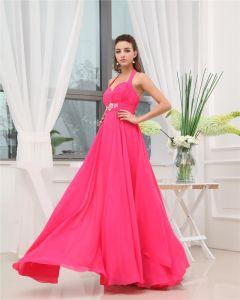 Halter Sweetheart Sleeveless Zipper Ruffle Beading Floor Length Chiffon Woman Bridesmaid Dress