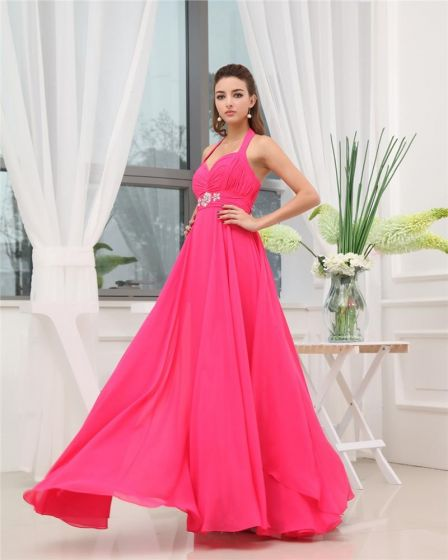 Halter Sweetheart Sleeveless Zipper Ruffle Beading Floor Length Chiffon Woman Bridesmaid Dress
