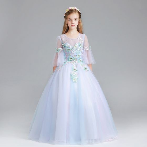 Chic / Beautiful Sky Blue Flower Girl Dresses 2017 Ball Gown Scoop Neck 3/4 Sleeve Appliques Butterfly Floor-Length / Long Ruffle Pierced Wedding Party Dresses
