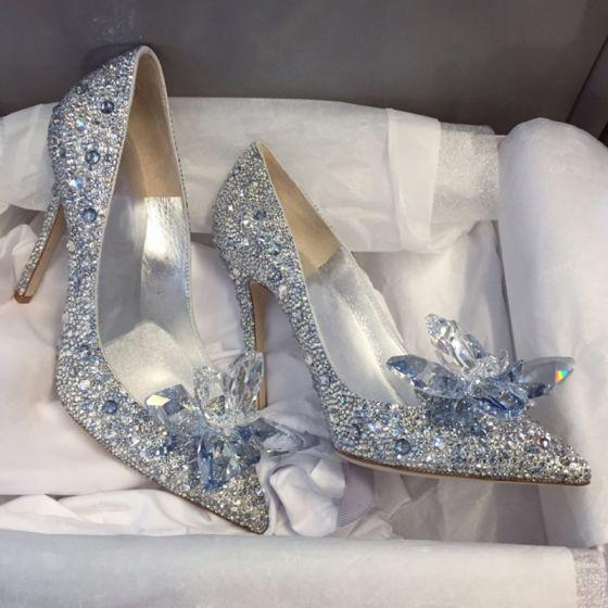 Luxe Assepoester Handgemaakt Zilveren Bruidsschoenen 2019 Leer Kristal Rhinestone 9 cm Naaldhakken / Stiletto Spitse Neus Huwelijk Pumps