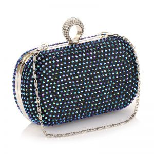 Chic / Beautiful Black Rhinestone Metal Clutch Bags 2018